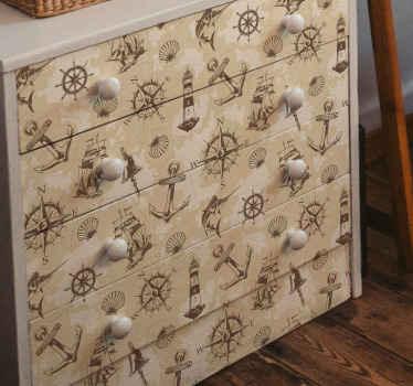 Un design d'autocollant de mobilier nautique vintage pour embellir votre espace de mobilier de maison. La conception contient des boussoles de navigation, des ancres, un phare, etc.