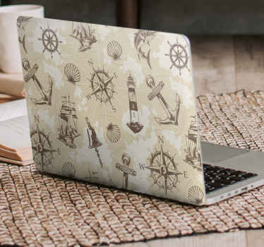 Nautical laptop sticker design created with different nautical object features. On the design are navigating compasses, anchors, light house and more.