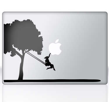 A Macbook decal illustrating a girl on a tree swing. A superb design to customise your MacBook. An exclusive decal from our collection of MacBook stickers.