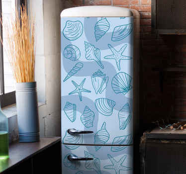 Decorative fridge appliance decal with different seashells design. Fantastic design for your fridge space and it is really adhesive.