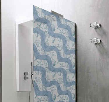 Autocollant d'écran de douche coquillages. Embellissez votre espace de paroi de douche avec notre stickers de paroi de douche original et auto-adhésif.