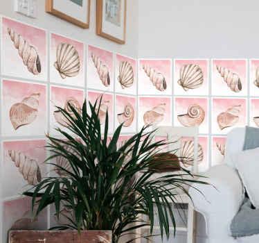 あなたは貝殻が好きですか?はいの場合、このデザインはあなたのためです。バスルーム、キッチン、その他のスペース用の装飾的な防水貝殻タイルステッカー。