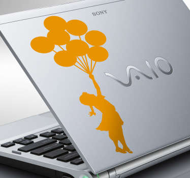 Sticker PC portable fille ballons