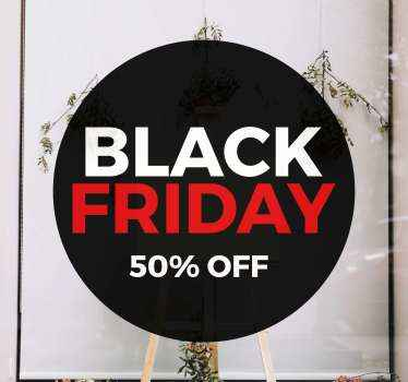 Round black background sticker for black Friday sales. The design is inscribed with the text ''Black Friday in white and red colour.