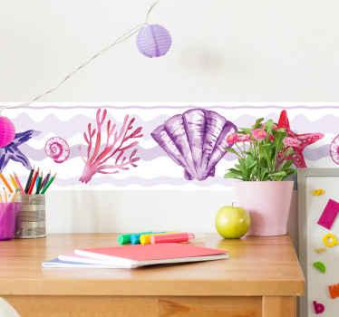 Cenefa para niñas de conchas marinas en diferentes tonos morados para decorar la pared. Producto con medidas personalizables ¡Compra online!