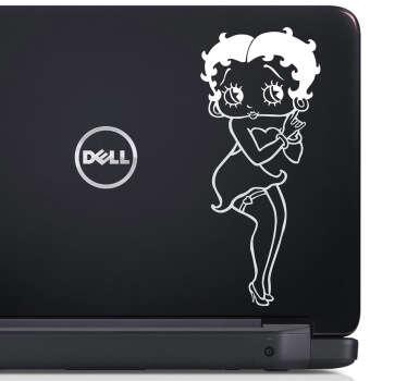 Decora la parte trasera de tu ordenador con este adhesivo con un dibujo en línea de la sensual Betty, personaje de animación