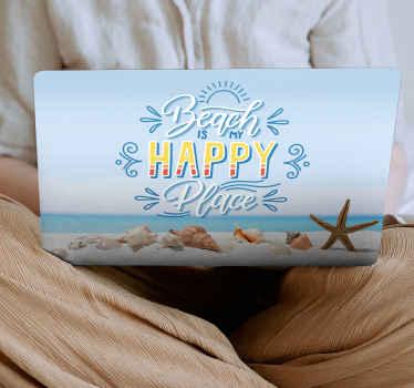 Lindo autocolante decorativo marinho para pc projetado com imagem de alta definição. O produtoilustra uma concha do lado da praia.