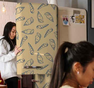 Een kostbare blauwe zeeschelpen stickers om u koelkast te versieren en hem een unieke look te geven! Gemaakt van hoogwaardig vinyl en zeer resistent.