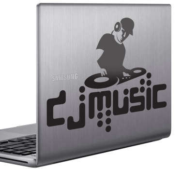 A monochrome laptop sticker illustrating a DJs mixing table! Ideal music decal to decorate your laptop or your DJ equipment. Take your DJ game to a new level by personalising your own DJ equipment with this customisable decal, available in various sizes and colours.