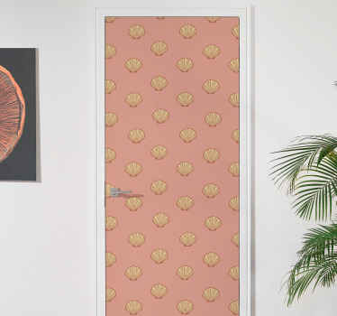 Decorative symmetric seashell prints door sticker for home and other spaces. The design can be applied on wooden and glass door.