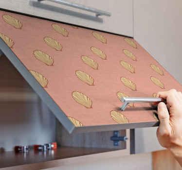 vinilo mueble de conchas con tono rosado. Es adecuado para armarios de cocina, cajones y toda superficie plana ¡Medidas personalizables!
