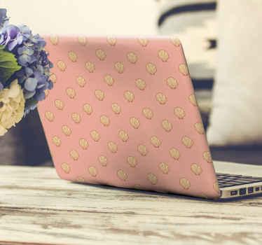Hermoso vinil para laptop con estampados de conchas sobre fondo rosado. Un diseño para dar un toque único a tu ordenador ¡Envío express!