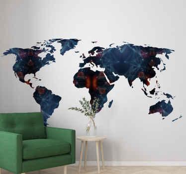 Un increíble vinilo pared mapamundi con patrón geométrico para sala de estar u oficina. Fácil de aplicar y autoadhesivo ¡Decora a tu gusto!