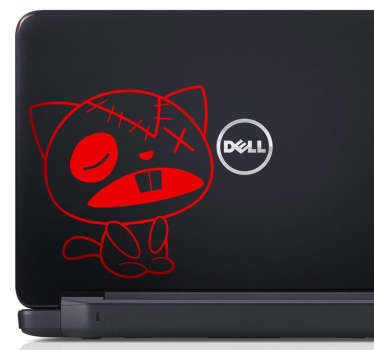 Laptop Aufkleber verprügelte Katze