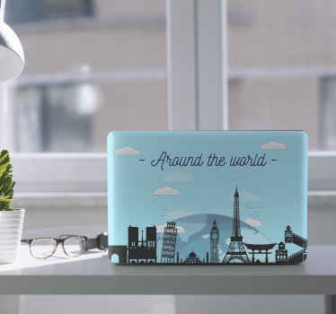 Wunderschöner Laptop Sticker, der reisen und abenteuer rund um die Welt illustriert. Es zeigt wichtige türme und strukturen rund um den globus.