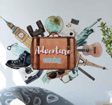Decorative location travel decal design for adventure and travel enthusiast. The design contains luggage bag, camera, guitar instrument, tower, etc.