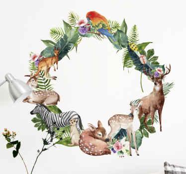 Vinilo de animales ornamentales en una corona de flores para decorar tu casa con un toque original y exclusivo. Elige tamaño ¡Compra online!