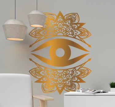 Vinilo mandala pared abstracto ornamental dorado con ojo de fácil aplicación y de gran calidad. Elige la medida ¡Envío a domicilio!