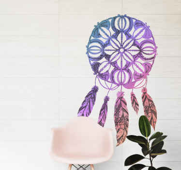 Colorful dream catcher sticker for living room. It can be applied on other spaces in the home and other flat surfaces. Available in any size needed.