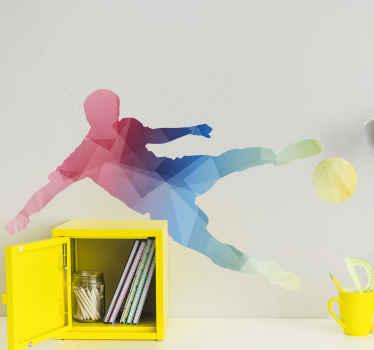 ボールを蹴るサッカー選手の美しいシルエットステッカー。お好みの角度でデザインを配置できます。