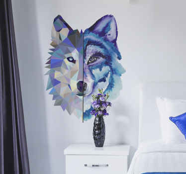 Beautiful geometric abstract design of a wolf's  face. A  creative wild animal art design to decorate living room.  Easy to apply and adhesive.