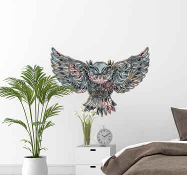 Decorative flying owl bird decal. Suitable design for any space in the home. It can be applied on wall, furniture, , door, window space and more.
