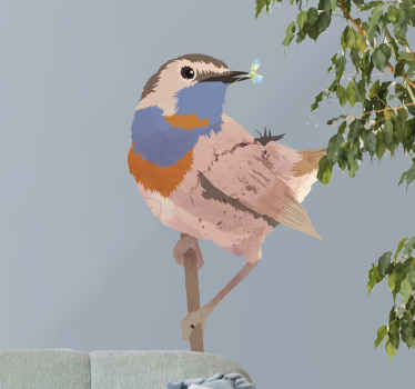 Bird wall art decal for home and office decoration. The bird is a class of bluethroat bird designed in an abstract form.