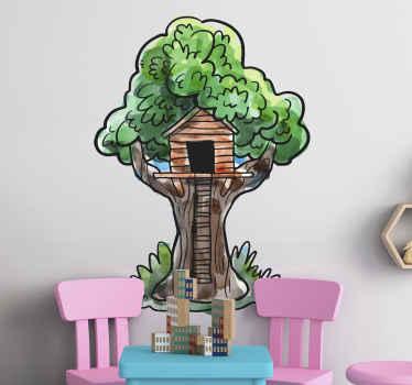 子供部屋用のカラフルなツリーハウスステッカー。デザインは男の子の部屋には素晴らしいアイデアですが、女の子の部屋にも適用できます