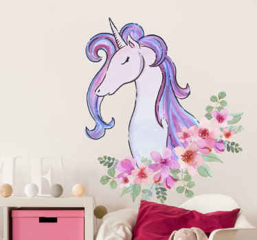 Fairy tale sticker design for children. A colorful and lovely design of a unicorn with flowers. Original and self adhesive.