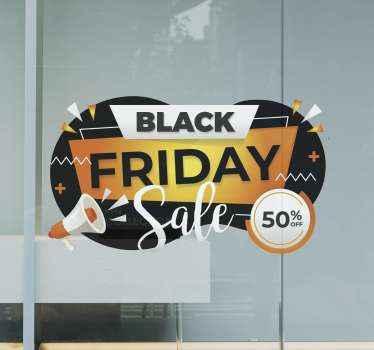 ブラックフライデーの割引販売を促進するビジネスプレイスのブラックフライデー販売ステッカーのマルチカラーの背景デザイン。