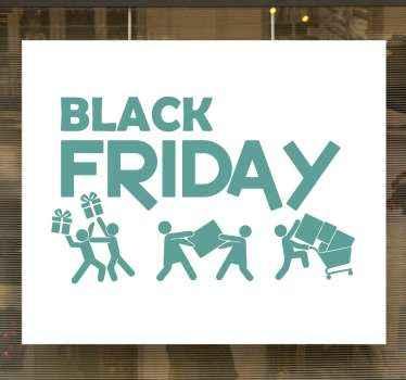 Decoratieve en grappige black friday sticker voor zwarte vrijdagverkoop, ontworpen met tekst en pictogrammen van mensen die enorme ladingen wagens met producten verplaatsen.