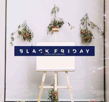 Eenvoudige zwarte vrijdag verkoop tekststicker om op een zakenraam te plaatsen. Ontwerp is gemaakt op een kleine rechthoekige blauwe achtergrond