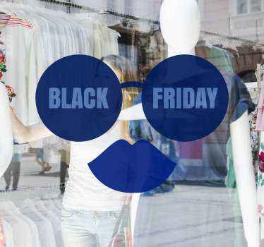 Autocollant de vente vendredi noir conçu sous la forme de lunettes et de lèvres. Vous pouvez l'appliquer sur n'importe quelle surface plane de votre choix, fenêtre, porte et vitrine.