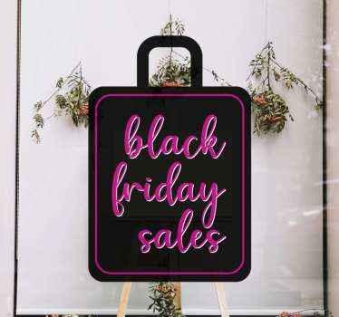 Mooie zwarte vrijdag verkoop sticker ontwerp in de vorm van een tas. Het ontwerp is een tekst gegraveerd op een rugvorm. Gemakkelijk aan te brengen en zelfklevend.