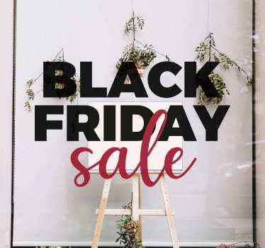 Zwarte vrijdag verkoop  sticker gemaakt met veelkleurige tekstinscriptie. Mooi ontwerp om op de etalage van een winkel te plakken om klanten op de hoogte te stellen van verkopen.