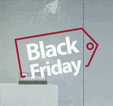 Decoratieve zwarte vrijdag verkoop raamsticker voor een zakenruimte. Het ontwerp is een tag met tekstinscriptie met de tekst 'zwarte vrijdag'.