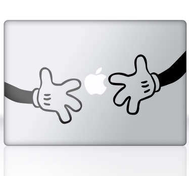 A fun and cool way of redecorating your laptop or MacBook with this sticker from our MacBook stickers collection illustrating Mickey Mouse's hands.