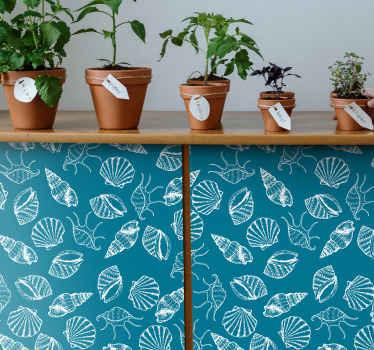 緑の背景を持つ貝殻動物ステッカーのコレクションからの装飾的な家具デカール。オリジナルで簡単に適用できます。