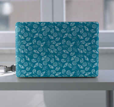 Seashell animals laptop skins decal just amazingly suitable for any one. The design is a collection of different seashell prints on green background.