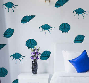 Beautiful seashell wall sticker designed in green colour. The design is a collection of different sea animals inn green colour texture.