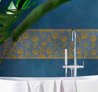Cenefa decorativa de conchas submarinas para decorar la pared a tu gusto con un diseño original y elegante ¡Medidas personalizables!