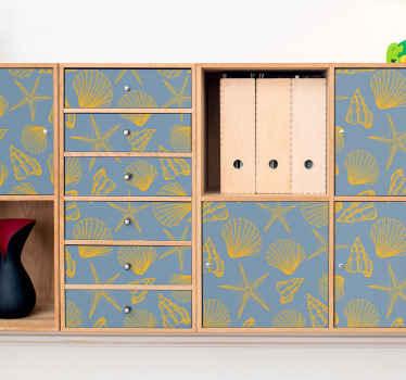 Compre nuestro papel adhesivo para muebles de conchas submarinas en su tamaño personalizado ¡Diseño original para superficie plana!