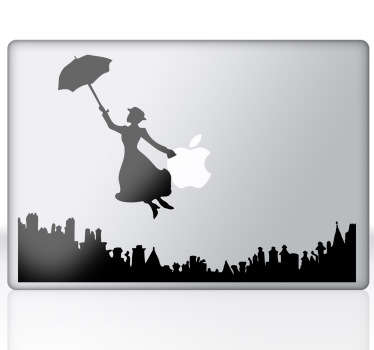 A drawing of the famous Disney star over the city with an umbrella. An exclusive and original design from our collection of MacBook stickers.