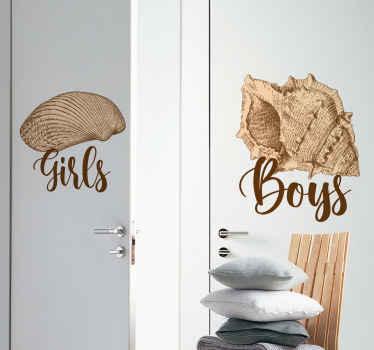 硬い貝殻の素敵なデザインの高品質ビニールドアステッカー。家のバスルームや子供部屋のドアを飾る素敵な方法。