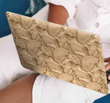 Purchase our decorative seashell sticker for laptop designed in vintage texture appearance. You would love this design on your laptop space.