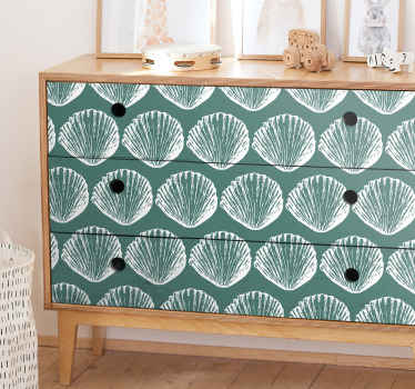 Amazing retro decorative seashell furniture sticker for your space.  A design with prints of seashell sheets in green colour background.