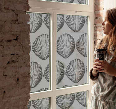 Retro seashell pattern window sticker. The design is decorative on any  window space, apply it on a living room, bedroom, kitchen, bathroom, etc.