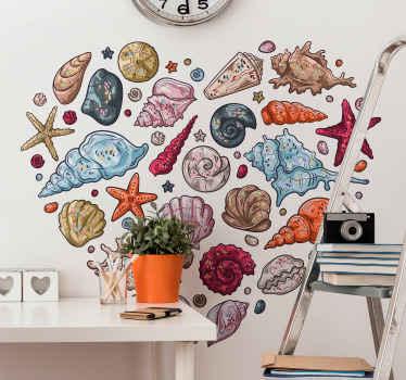 Magnifico adesivo da parete collezione di conchiglie per gli amanti delle conchiglie. Il design contiene diverse fantastiche conchiglie stampate in deliziose trame di colore.