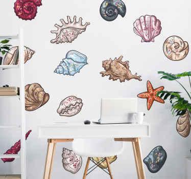 Esponi questi bellissimi adesivi a conchiglia sulla tua parete in casa. Il design contiene diverse fantastiche conchiglie stampate in un bel colore.