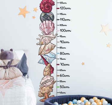 Ilustrativni nalepni grafikon višine školjk za otroke. Zasnova ponazarja različne školjke, razporejene v navpičnem vrstnem redu s kalibriranim števcem.